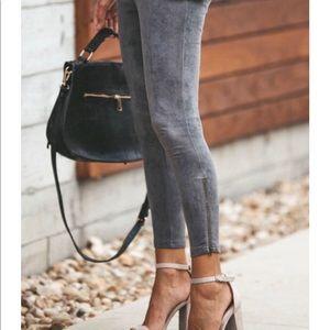 Pants - Suede zipper pants